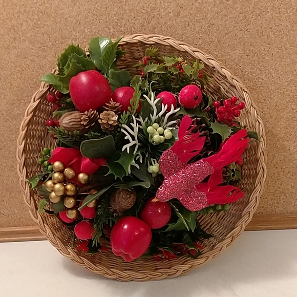 Vintage faux Christmas greenery Wall decor basket